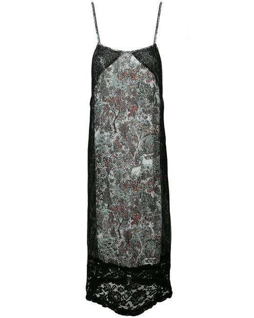 I'm Isola Marras - Black Floral Print Lace Panel Shift Dress - Lyst