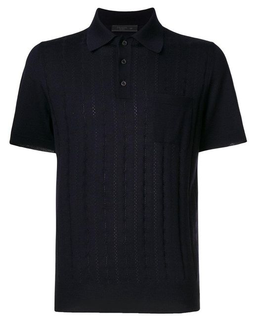 Prada | Blue Embroidered Polo Shirt for Men | Lyst