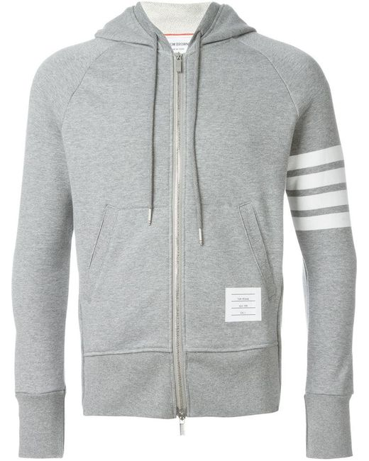 Thom Browne   Gray Zipped Hoodie for Men   Lyst