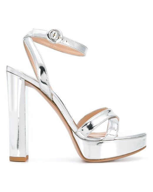 e69641b1f13 Gianvito Rossi - Metallic Poppy Sandals - Lyst ...