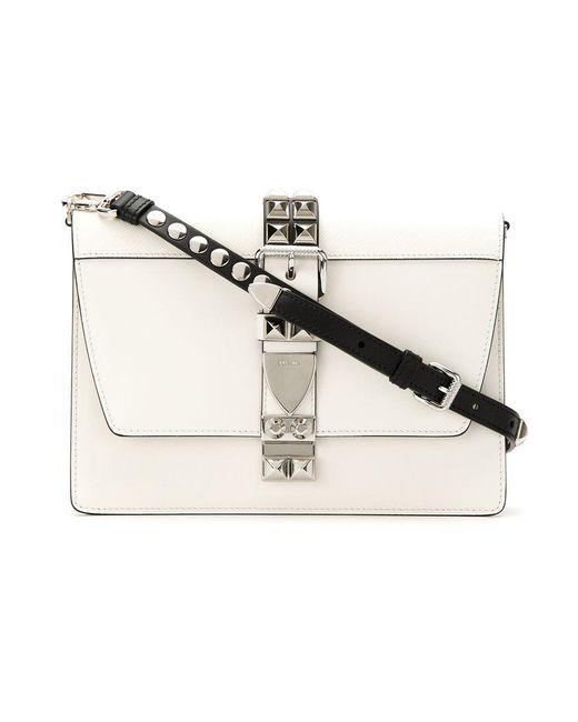 Prada - White Studded Crossbody Bag - Lyst