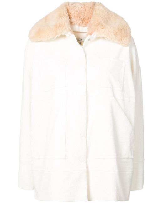 Ganni - White Faux Fur Collar Coat - Lyst