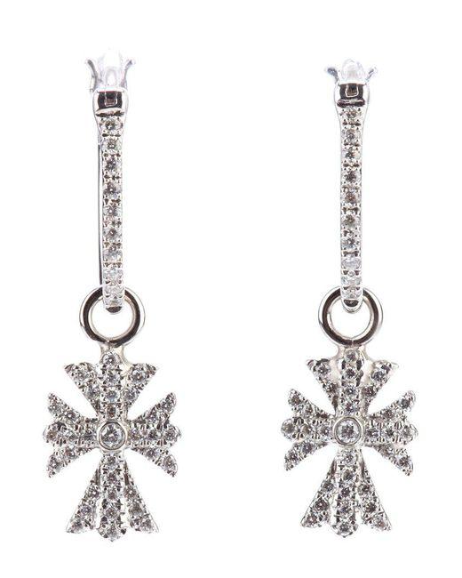 Elise Dray - White Diamond Cross Earrings - Lyst