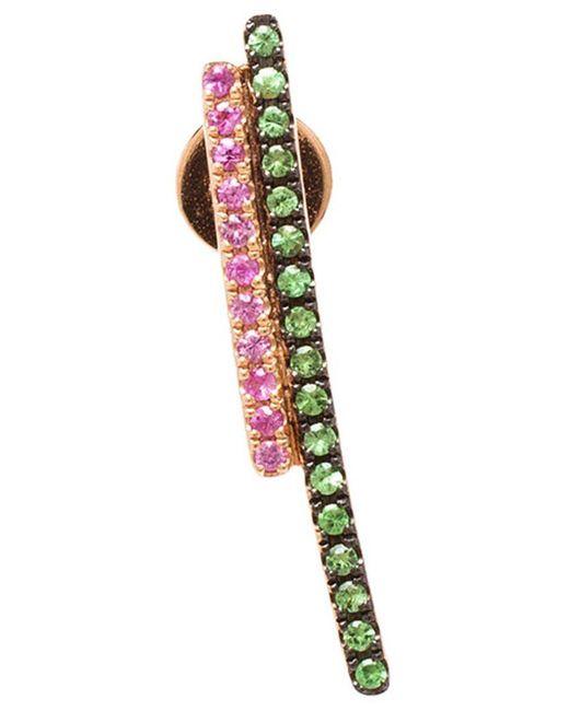 Asherali Knopfer - Multicolor Tsavorite And Sapphire Bar Earring - Lyst