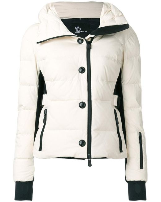 moncler grenoble buttoned padded jacket in white lyst. Black Bedroom Furniture Sets. Home Design Ideas