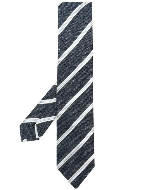 Kiton - Blue Diagonal Striped Tie for Men - Lyst