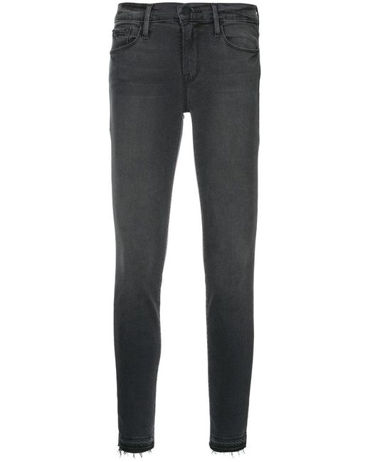 FRAME - Gray Le Skinny Jeans - Lyst