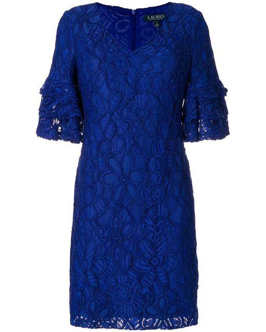 Lauren by Ralph Lauren - Blue Embroidered Floral Dress - Lyst