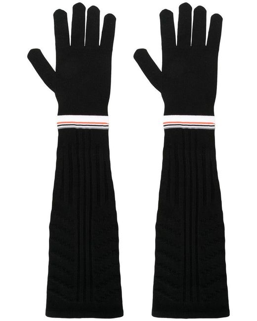 Prada - Black Stripe Trim Long Ribbed Gloves - Lyst