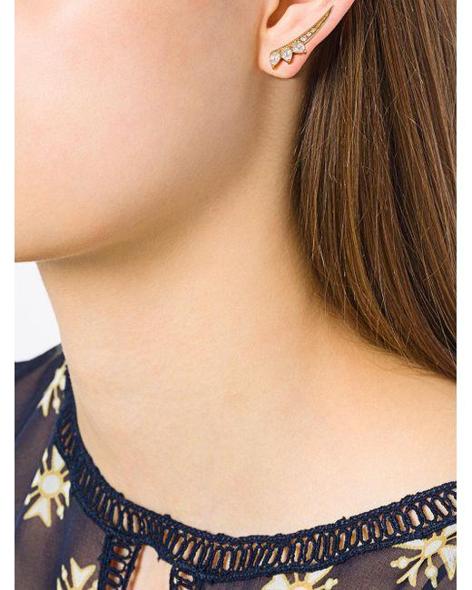 Eshvi Metallic Bow Shaped Earrings Lyst