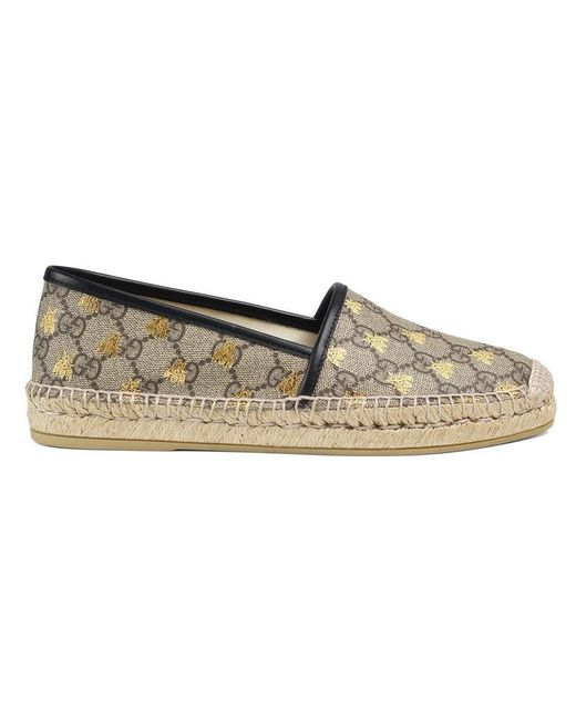 Gucci - Brown GG Supreme Bees Espadrille - Lyst