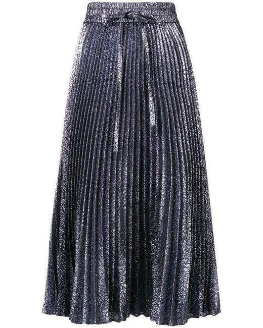 RED Valentino - Gray Pleated Midi Skirt - Lyst