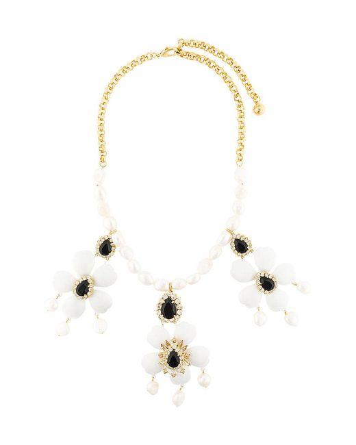 Shourouk - White Floral Pendant Necklace - Lyst