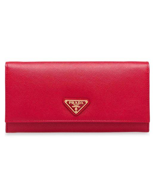 5862f4dcd933 Prada - Red Logo Plaque Wallet - Lyst ...