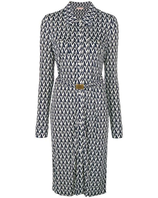 Tory Burch - Blue Lattice Print Shirt Dress - Lyst