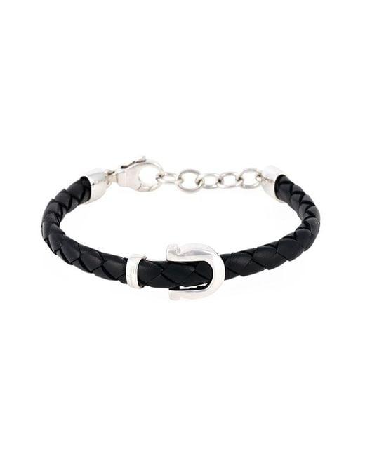 Ferragamo   Black Woven Gancio Bracelet   Lyst