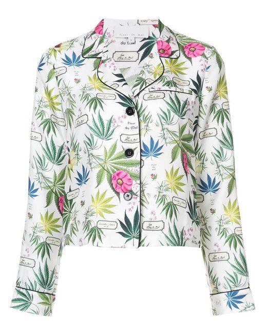Fleur du Mal - White Floral Printed Pyjama Top - Lyst