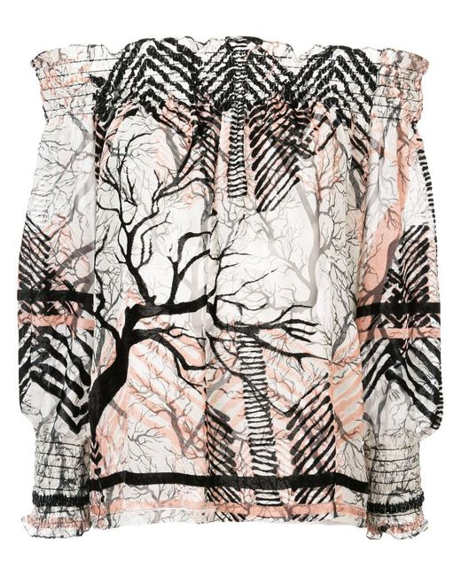 Yigal Azrouël - White Off-shoulder Patterned Blouse - Lyst