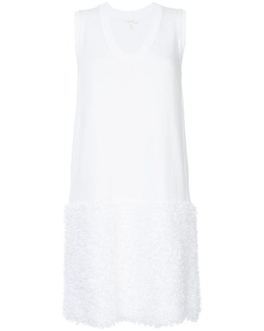 Delpozo - White Thin Ruffle Trimmed Scoop Neck Top - Lyst