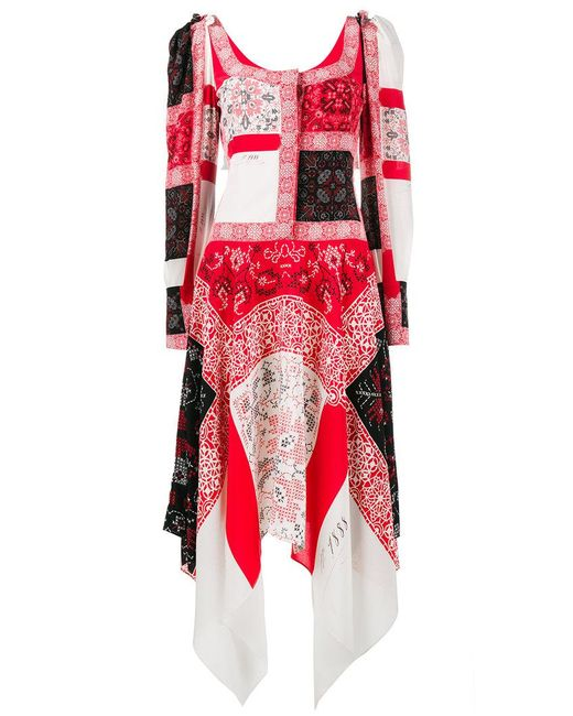 patchwork long dress - Red Alexander McQueen 3fpOrpZZ
