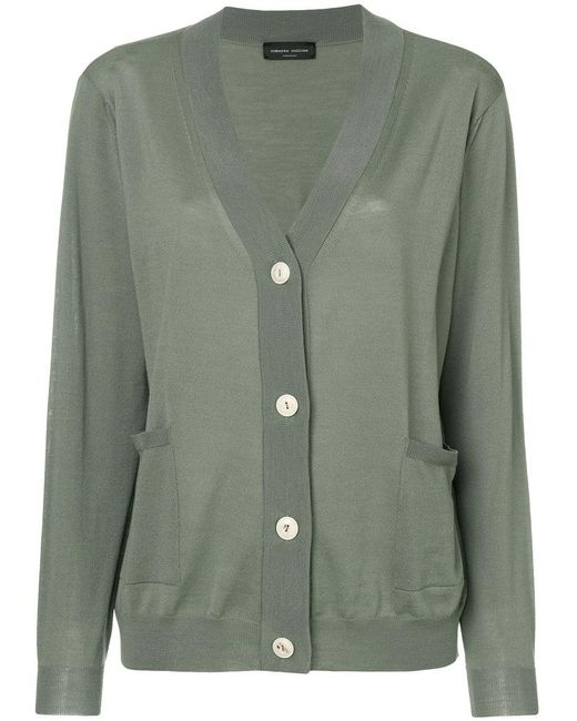 Roberto Collina - Green Casual V-neck Cardigan - Lyst