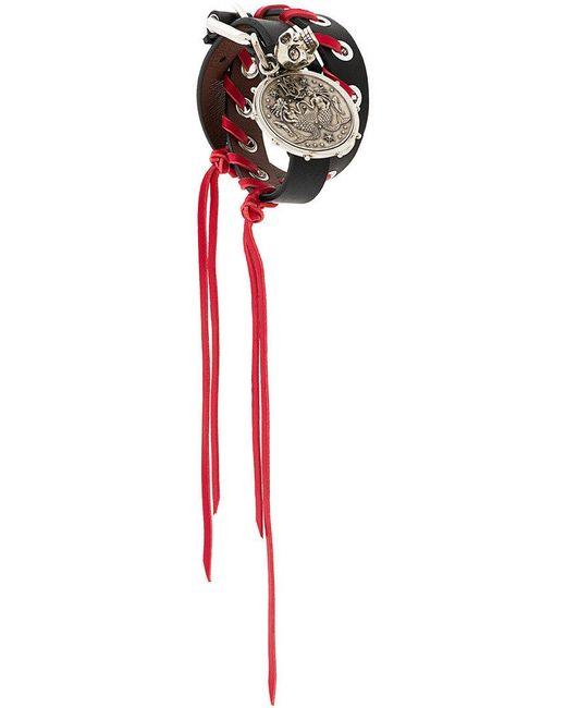 Alexander McQueen | Black Bracciale Con Medaglione | Lyst