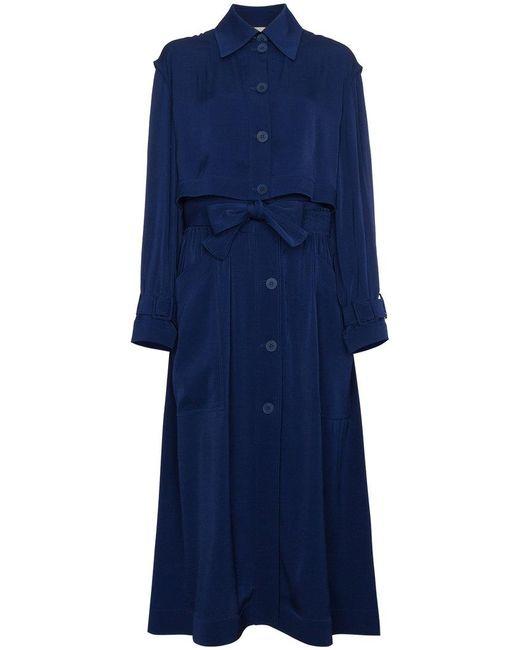 Stella McCartney - Blue Elasticated Waist Trench Coat - Lyst
