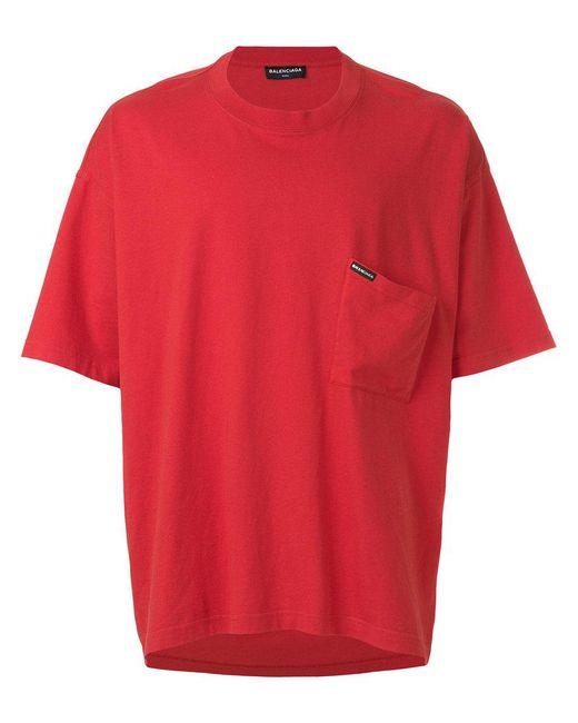 Lyst balenciaga droopy short sleeve t shirt in red for men for Balenciaga t shirt red