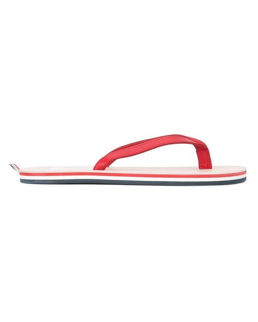 Thom Browne - Red Flip-Flops mit gestreifter Sohle for Men - Lyst