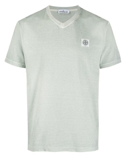 f116b14b Stone Island - Green Logo Patch T-shirt for Men - Lyst ...