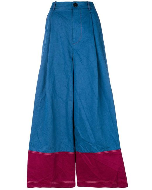 Marni - Blue Cropped Panel Trousers - Lyst