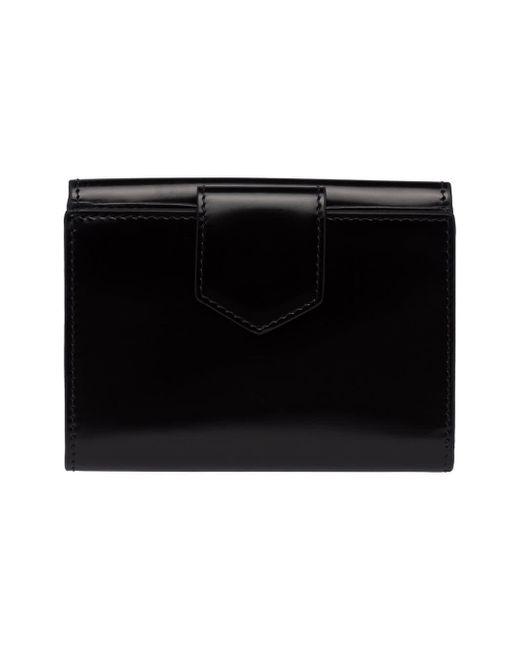 a990e25d1f51d ... Prada - Black Logo Foldover Wallet - Lyst