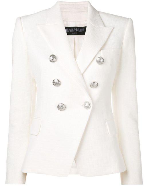 Balmain - White Button Embellished Blazer - Lyst