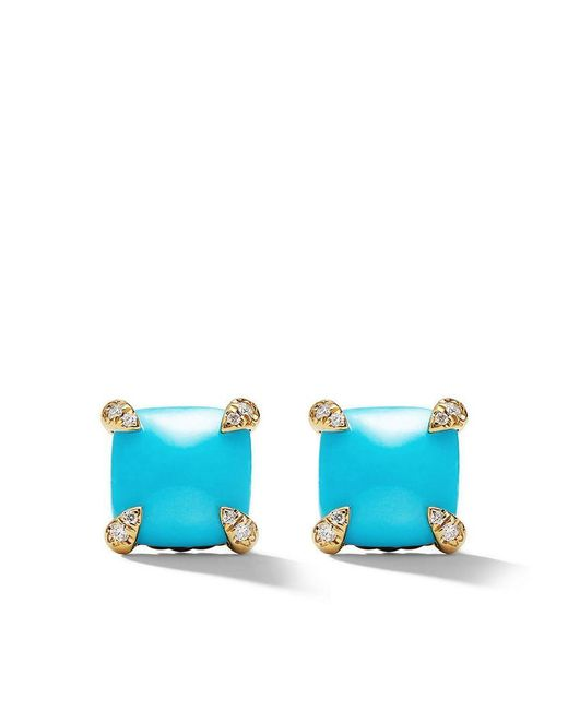 David Yurman - Blue 18kt Yellow Gold Châtelaine Turquoise And Diamond Stud Earrings - Lyst