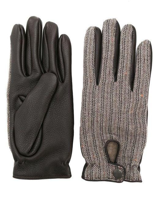 Lardini - Brown Handschuhe mit Fischgrätenmuster for Men - Lyst