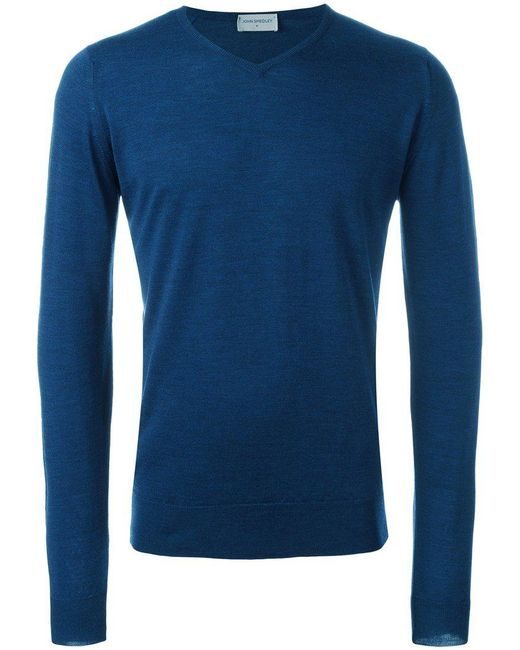 John Smedley - Blue 'bobby' Easy Fit V Neck Wool Sweater for Men - Lyst
