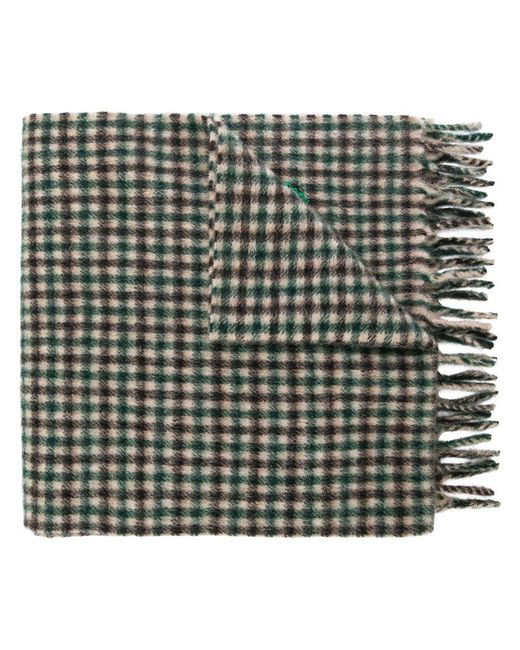 Gucci - Green Embroidered Checked Scarf for Men - Lyst