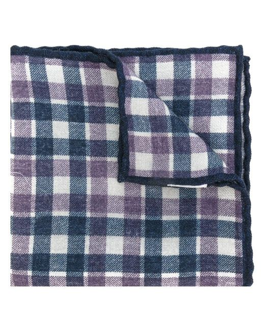 Eleventy - Blue Checked Scarf for Men - Lyst