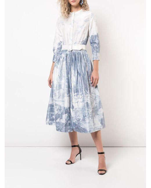 df25a652153 ... Oscar de la Renta - White Toile Du Jouy Print Dress - Lyst ...