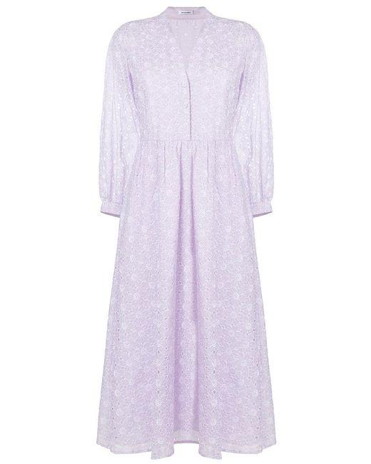 Vilshenko - Purple Broderie Anglaise Shirt Dress - Lyst