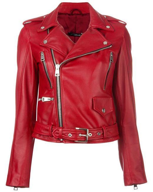 Manokhi | Red Belted Biker Jacket | Lyst