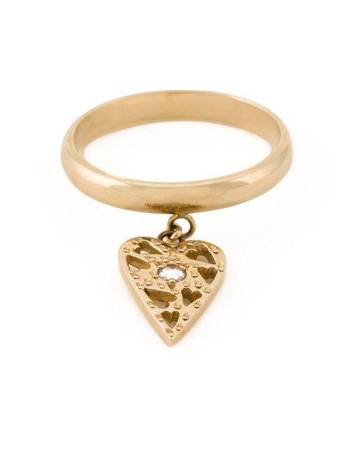 Natasha Zinko | Metallic Small Heart Charm Ring | Lyst
