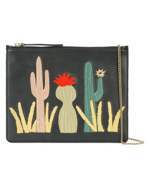 Lizzie Fortunato - Black Cactus Patch Clutch Bag - Lyst