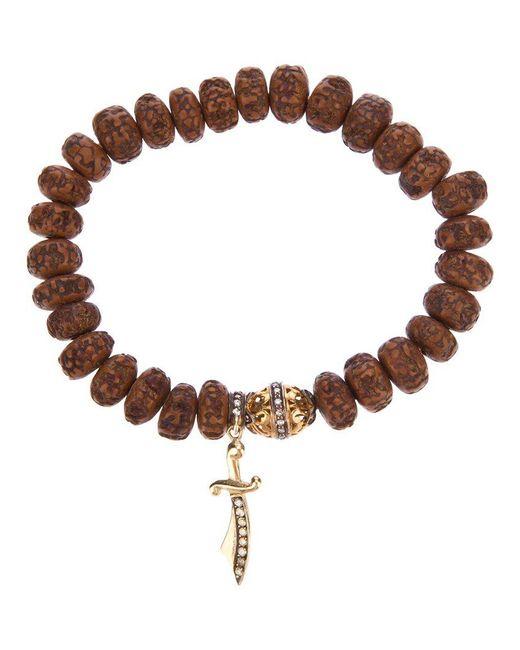 Loree Rodkin - Brown Carved Wood Beaded Diamond Bracelet - Lyst
