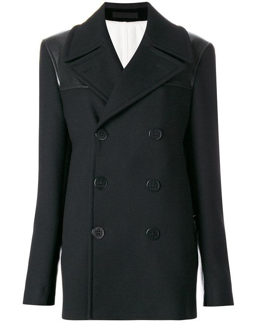 Alexander McQueen - Black Double Breasted Peacoat - Lyst