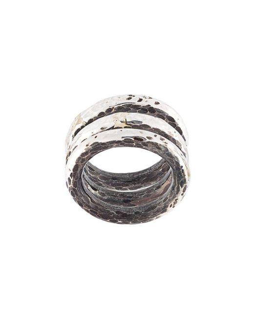 Henson - Metallic Hammered Ring Set - Lyst