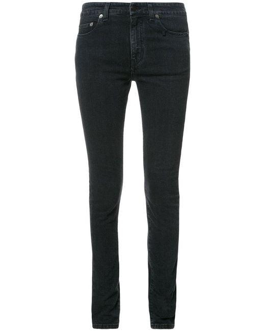 Saint Laurent - Black Faded Skinny Jeans - Lyst