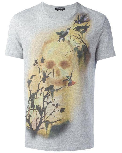 Alexander McQueen   Gray Skull And Bird Print T-shirt for Men   Lyst