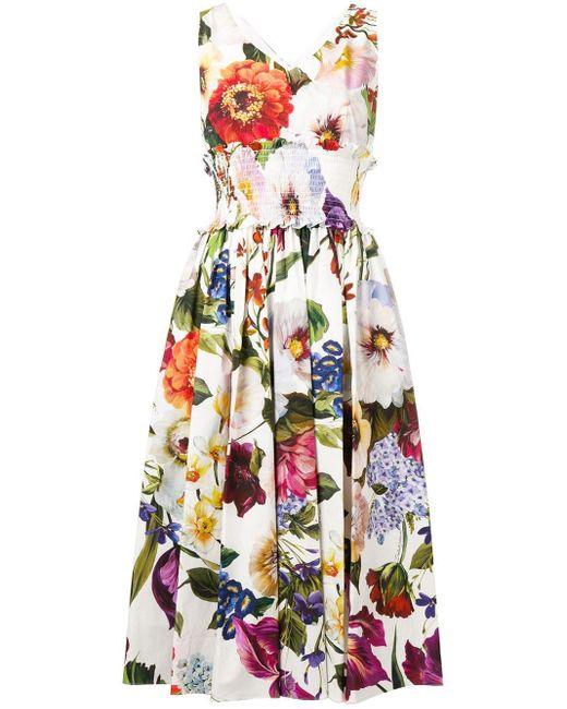 Dolce & Gabbana White Floral Print Midi Dress