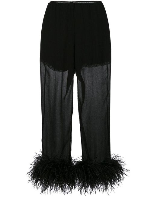 Prada - Black Feathered Silk Cropped Trousers - Lyst